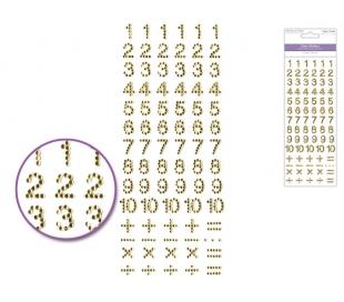 מדבקות מספרים מאבני חן - גוון זהב
