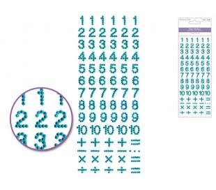 מדבקות מספרים מאבני חן - גוון תכלת