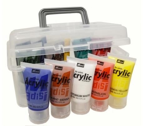 """סט 12 צבעי אקריליק 25 מ""""ל בקופסת איחסון"""