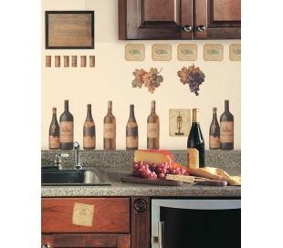 מדבקות קיר בקבוקי יין למטבח ולבר