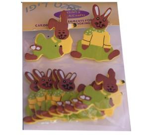 חיתוכי עץ ארנבות 2 דגמים  10 יח