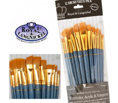 מכחולים לציור - סט 12 קצרים לאקריליק או מים רוייאל תכלת