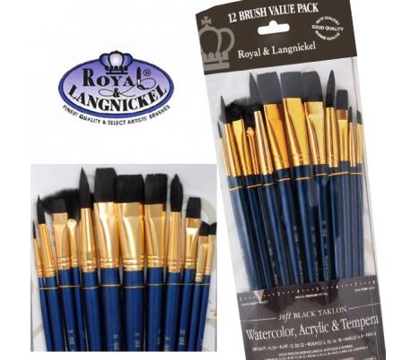 מכחולים לציור - סט 12 קצרים ורכים לאקריליק או מים רוייאל כחול