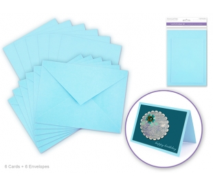 סט של 6 כרטיסי ברכה ומעטפות חלקות - כחול בייבי
