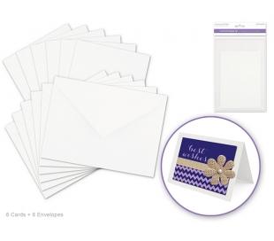 סט 6 כרטיסי ברכה ומעטפות חלקות - לבן