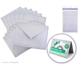 סט 6 כרטיסי ברכה ומעטפות חלקות - כסף