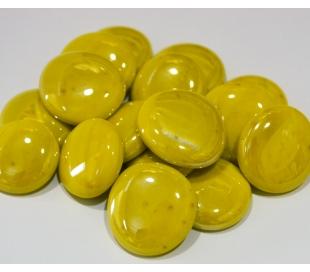 אבני זכוכית נגצים צהובים אטומים גדולים 200 גרם