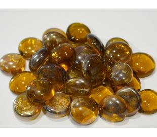 אבני זכוכית - נגצים קטנים בגוון דבש שקוף 200 גרם