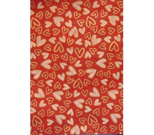נייר עיצוב בעיטור לבבות מוזהבים גווני אדום 5 דפים