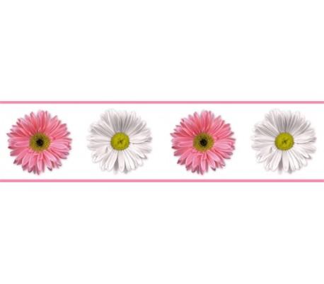 מדבקת בורדר פרחים ורוד ולבן