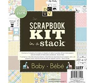 ערכת ניירות ומדבקות לעיצוב אלבומי תינוק בגודל 20*20