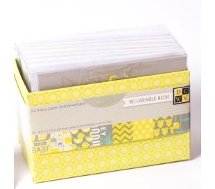 מארז 36 כרטיסים ומעטפות - עיטורים בצהוב