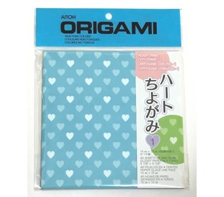 אוריגמי צ'יוגמי בהדפס לבבות צבעוניים