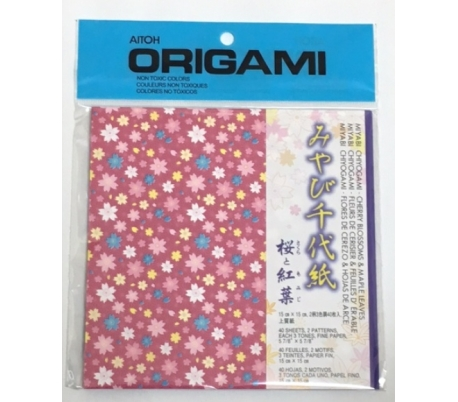 אוריגמי צ'יוגמי בהדפס פרחים ועלים