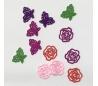 תליונים עם פרחים ופרפרים צבעוניים במארז