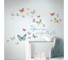 מדבקת קיר כיתוב עם פרפרים
