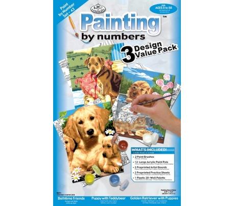 צביעה במספרים ערכה עם 3 פרוייקטים - כלבים