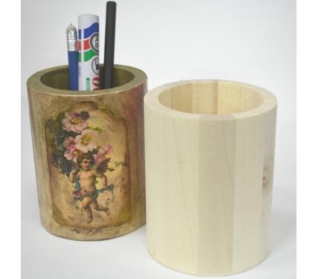 מעמד עטים עגול מעץ ליצירות