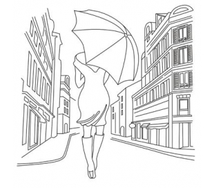 דקופז' 50*50 מנייר אורז - צלליות אישה עם מטריה
