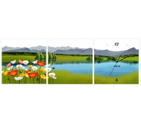 שעון קיר בתמונת 3 חלקים של פרחים באגם