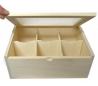 קופסת תה 6 תאים מכסה שקוף זכוכית
