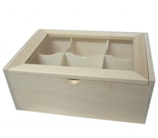קופסא מעץ עם 6 תאים עם מכסה זכוכית