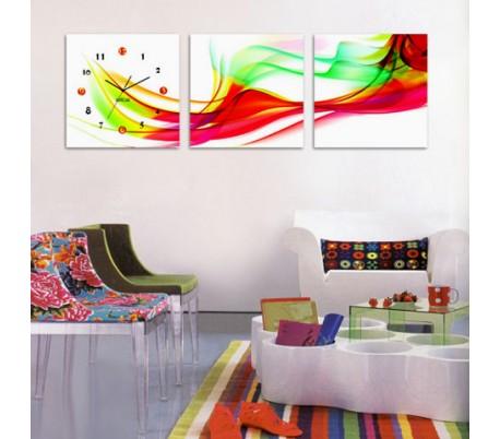 שעון קיר בתמונת 3 חלקים של צבעים ברוח