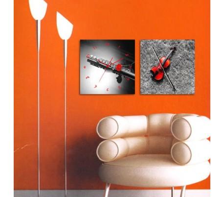 שעון קיר בתמונת 2 חלקים של כלי נגינה