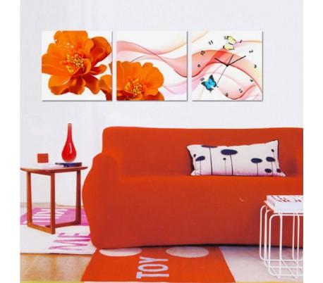 שעון קיר בתמונת 3 חלקים של פרפר ופרח