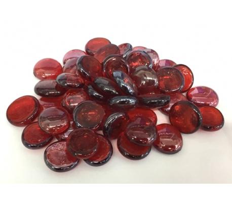 אבני זכוכית - נגצים קטנים בגוון אדום שקוף 200 גרם
