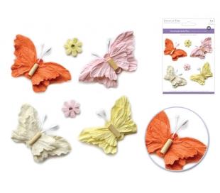 פרפרים  ופרחים מנייר עם חרוז בתלת מימד -  אביב