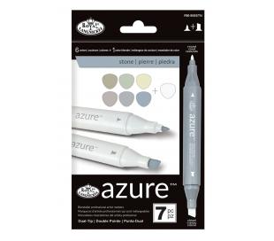 טושים לציור מקצועי סט 7 גווני אבן AZURE