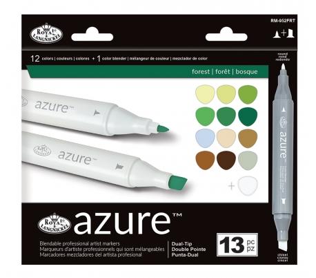 טושים לציור מקצועי סט 13 גווני יער AZURE
