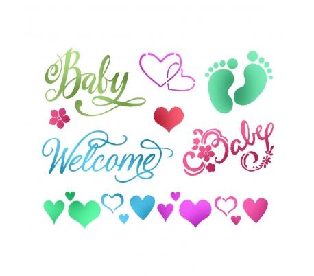 """שבלונות - סטנסיל תינוק חדש 15 * 20 ס""""מ"""