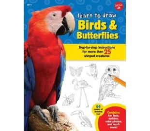 ספר לימוד ציור - ציפורים ופרפרים