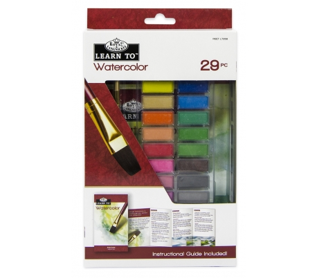 סט ללימוד ציור עם צבעי מים קשיחים