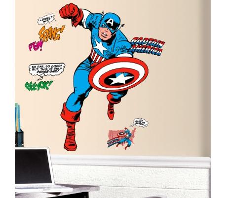 מדבקת קיר ענקית של קפטן אמריקה גיבור העל