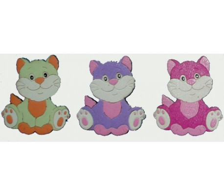 חיתוכי לייזר צבעוניים - 3 חתולים