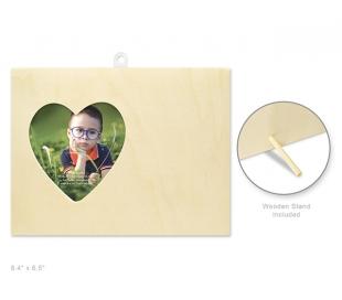 מסגרת עץ מלבנית ליצירה עם צורת לב