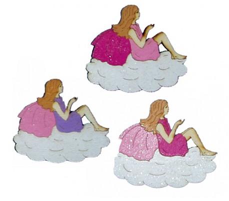 חיתוכי לייזר צבעוניים - 3 פיות על ענן