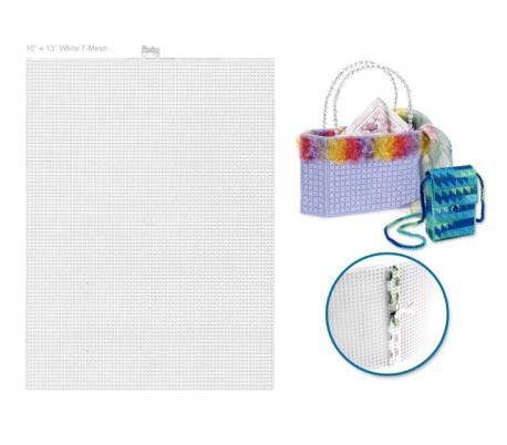 קנבס פלסטיק לריקמה ויצירה - לבן