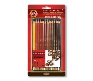 סט 12 עפרונות צבעוניים קוהינור פוליקולור חומים