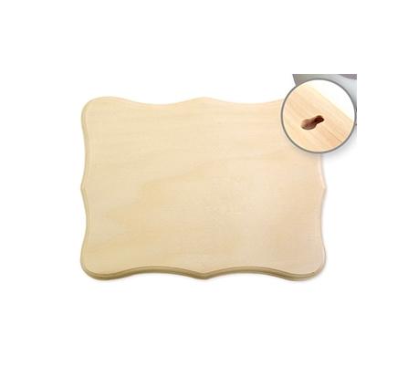שלט עץ בנוני צורת מלבן מעוטר עם 8  פינות