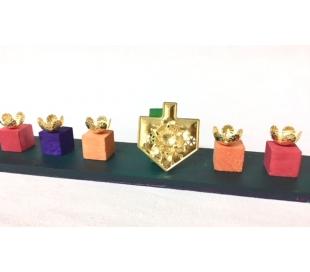 בתי נר לחנוכיה שמש בצורת סביבון צבע זהב - 90 יח