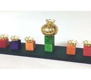 בתי נר לחנוכיה שמש בצורת רימון צבע זהב - 90 יח