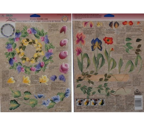 דף תירגול רב פעמי לציור דקורטיבי - סידורי פרחים