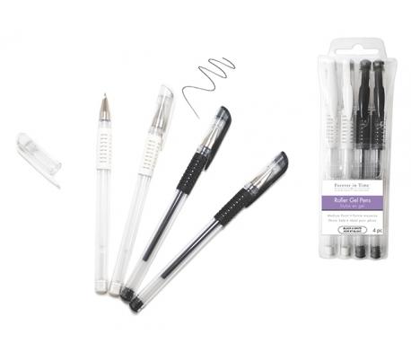עט ג'ל גוונים שחור ולבן - 4 יח