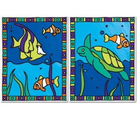 ערכת ציור עם 2 ציורים - צב ים ודגים