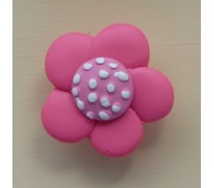 ידיות מעוצבות פרח ורוד מנוקד 4 סמ