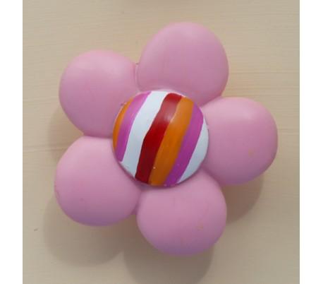 ידיות מעוצבות פרח ורוד ופסי צבע 8 סמ